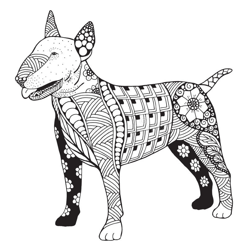Lo zentangle del cane di bull terrier ha stilizzato, vector, illustrazione, freeh illustrazione di stock