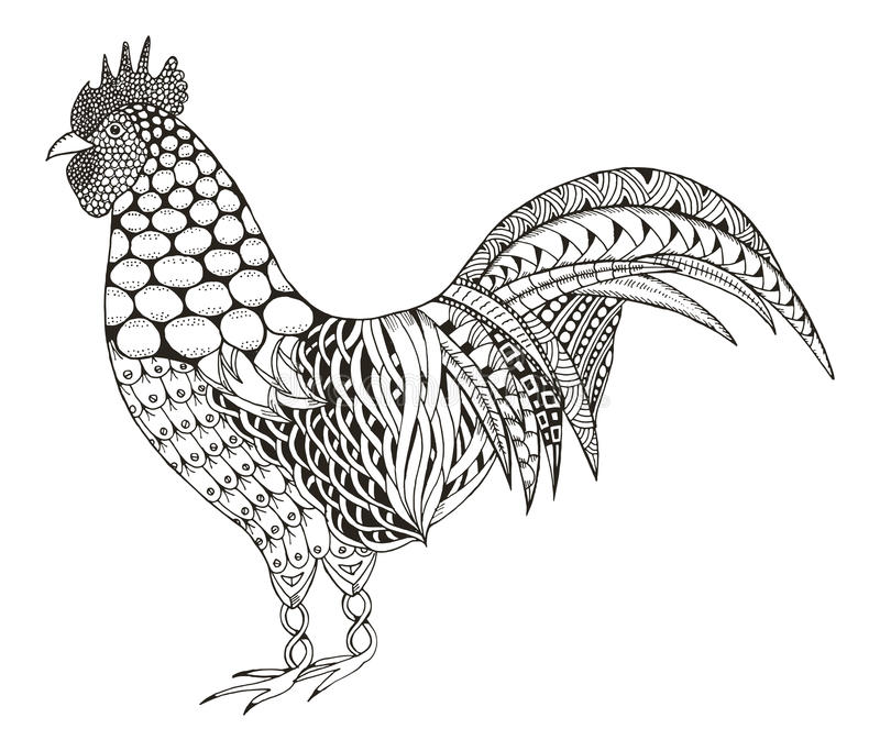 Lo zentangle del gallo ha stilizzato, vector, illustrazione, il modello, freeh royalty illustrazione gratis
