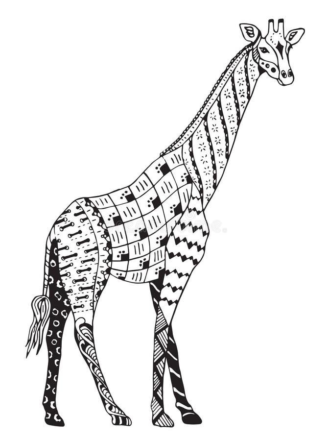 Lo zentangle della giraffa ha stilizzato, vector, illustrazione, penci a mano libera illustrazione vettoriale