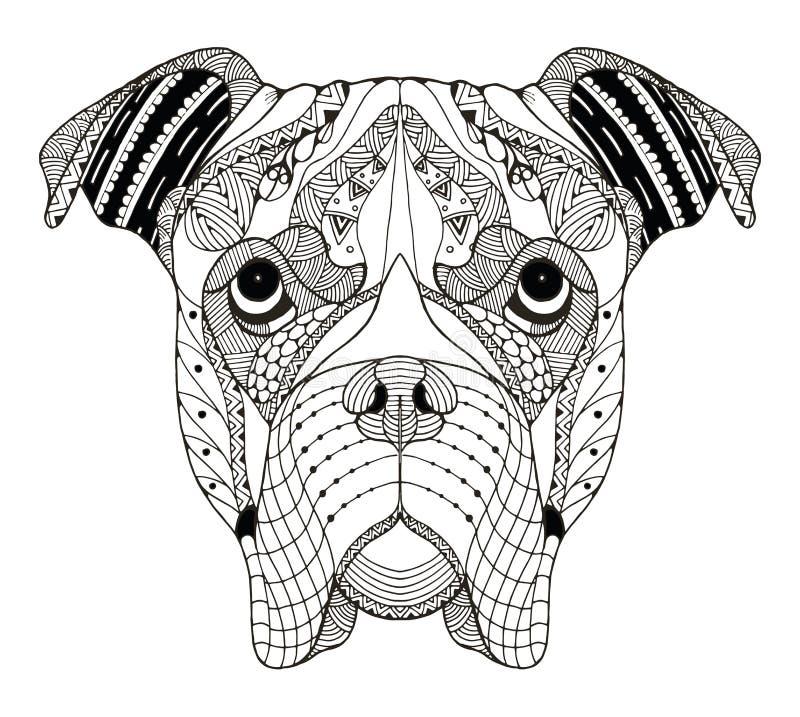 Lo zentangle della testa di cane del pugile ha stilizzato, vector, illustrazione, freehan illustrazione vettoriale