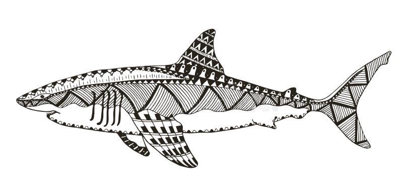Lo zentangle dello squalo ha stilizzato, vector, illustrazione, modello, freehan royalty illustrazione gratis