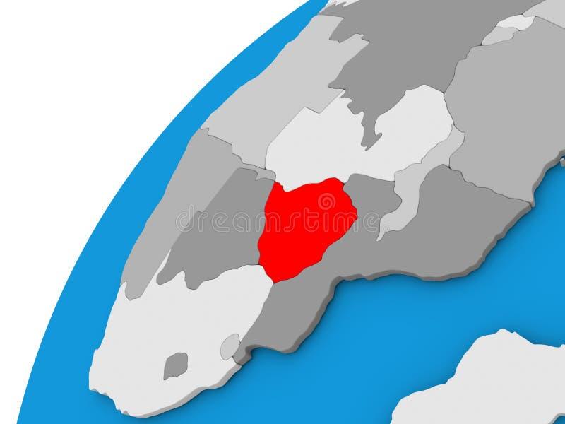 Lo Zimbabwe sul globo nel rosso illustrazione di stock