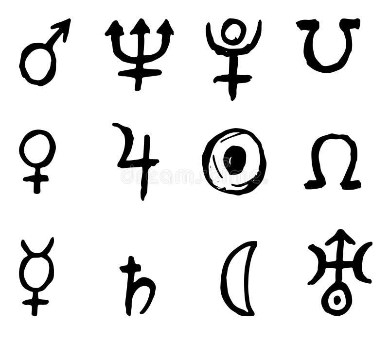 Lo zodiaco firma le icone, insieme di simboli dell'oroscopo, illustrazione di vettore illustrazione di stock