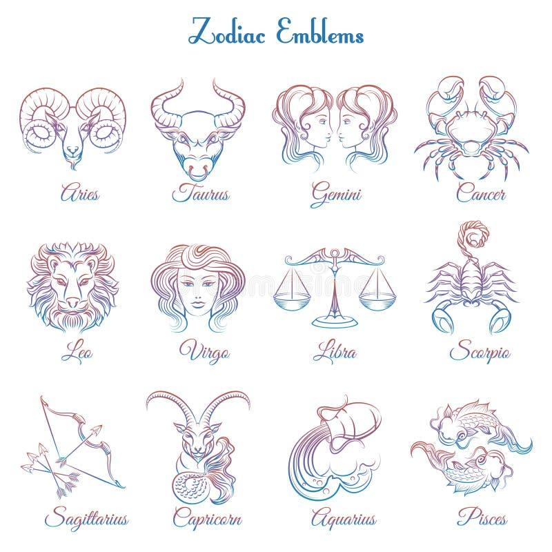 Lo zodiaco variopinto simbolizza la raccolta royalty illustrazione gratis