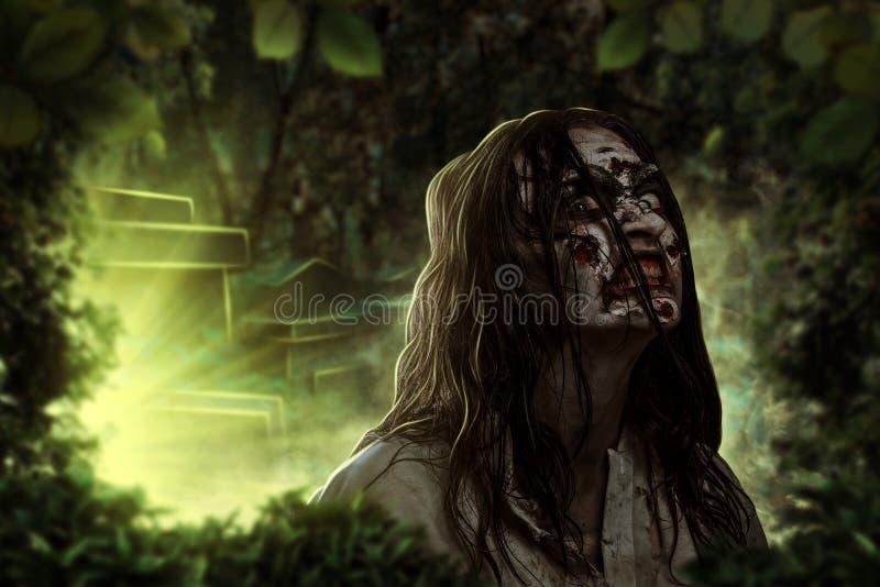 Lo zombie femminile gridante Cimitero Halloween immagini stock libere da diritti