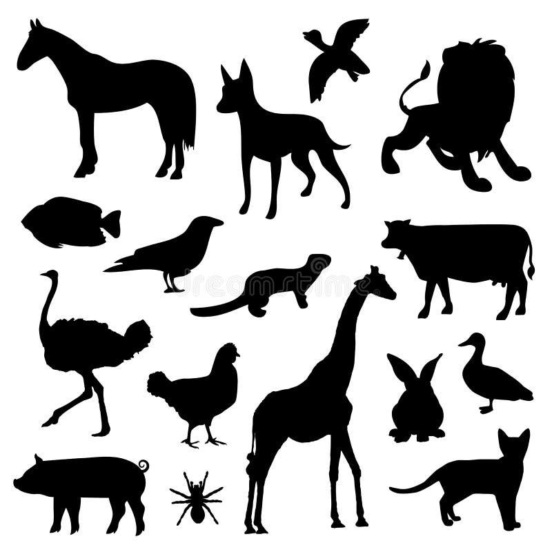 Lo zoo della fauna selvatica dell'animale domestico della fattoria degli animali profila il vettore nero dell'icona illustrazione vettoriale