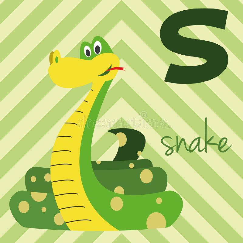 Lo zoo sveglio del fumetto ha illustrato l'alfabeto con gli animali divertenti: S per il serpente illustrazione di stock