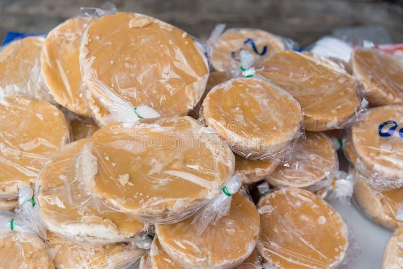 Lo zucchero di palma o il sagù nel mercato della Tailandia fotografia stock libera da diritti