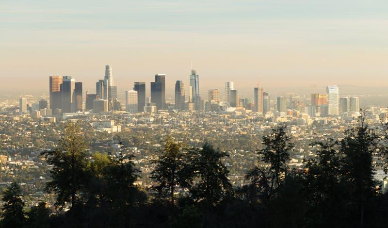 Loa Angeles Downtown City Skyline-de Metropool van Zonsondergangcalifornië royalty-vrije stock afbeeldingen