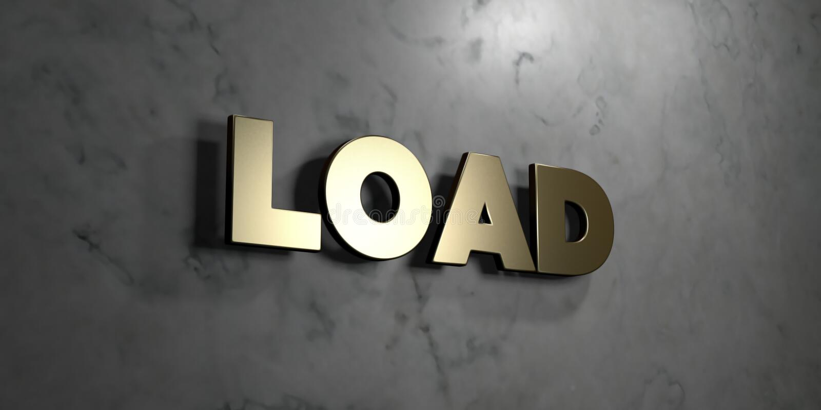 Load - Gold sign mounted on glossy marble wall - 3D rendered royalty free stock illustration. This image can be used for an online website banner ad or a print royalty free illustration