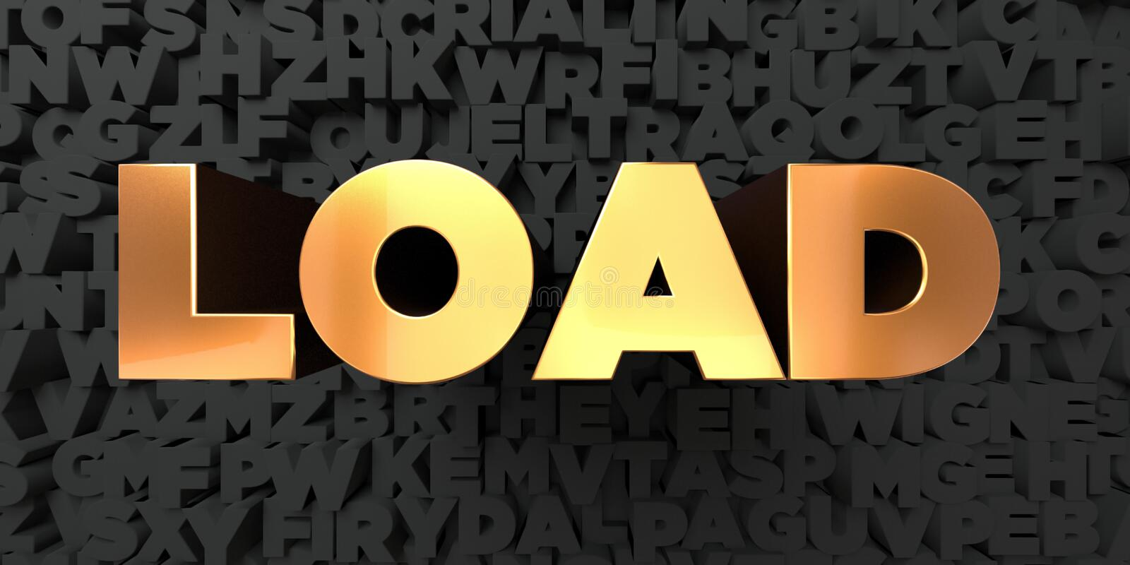 Load - Gold text on black background - 3D rendered royalty free stock picture. This image can be used for an online website banner ad or a print postcard vector illustration