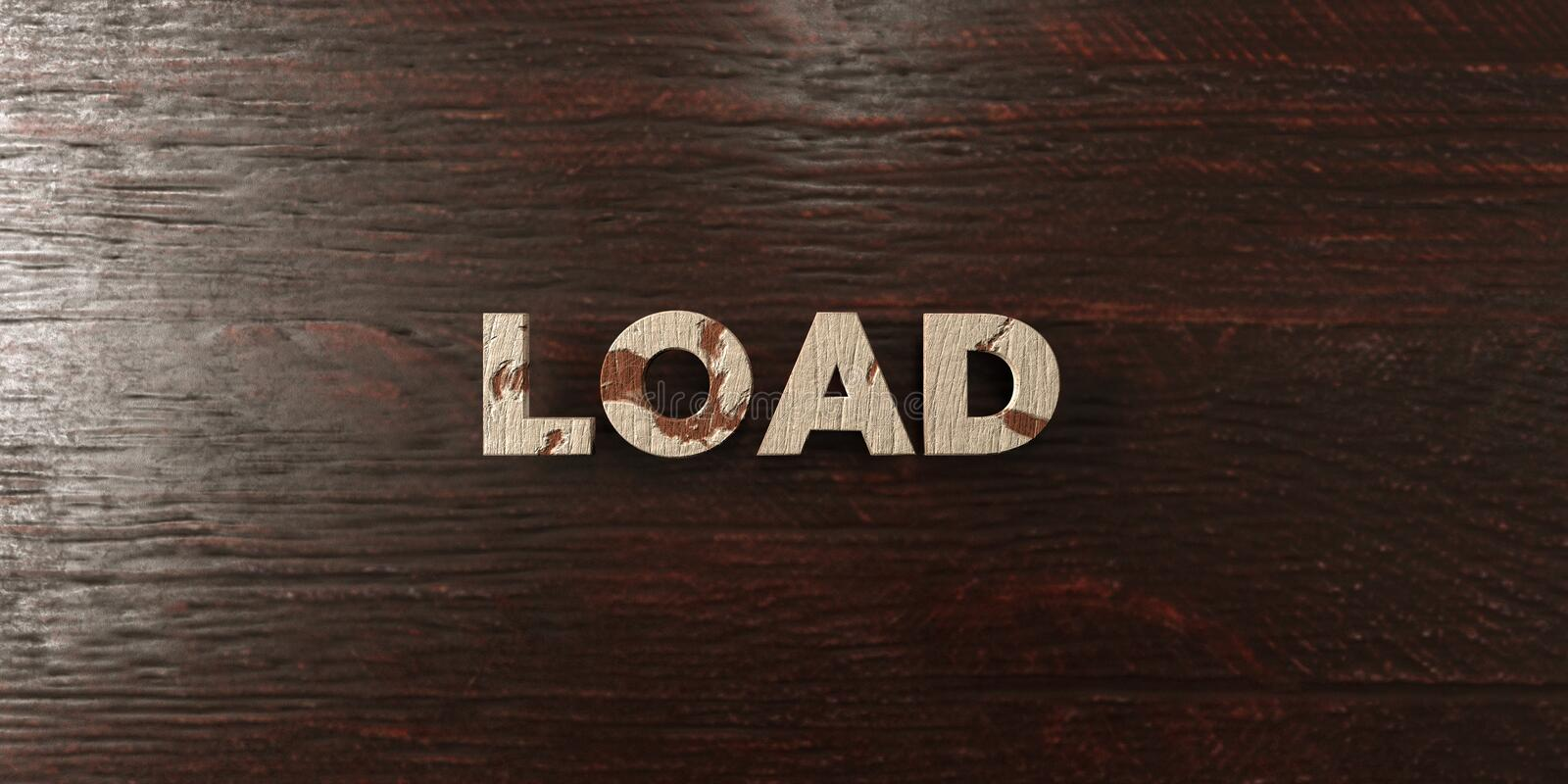 Load - grungy wooden headline on Maple - 3D rendered royalty free stock image. This image can be used for an online website banner ad or a print postcard vector illustration