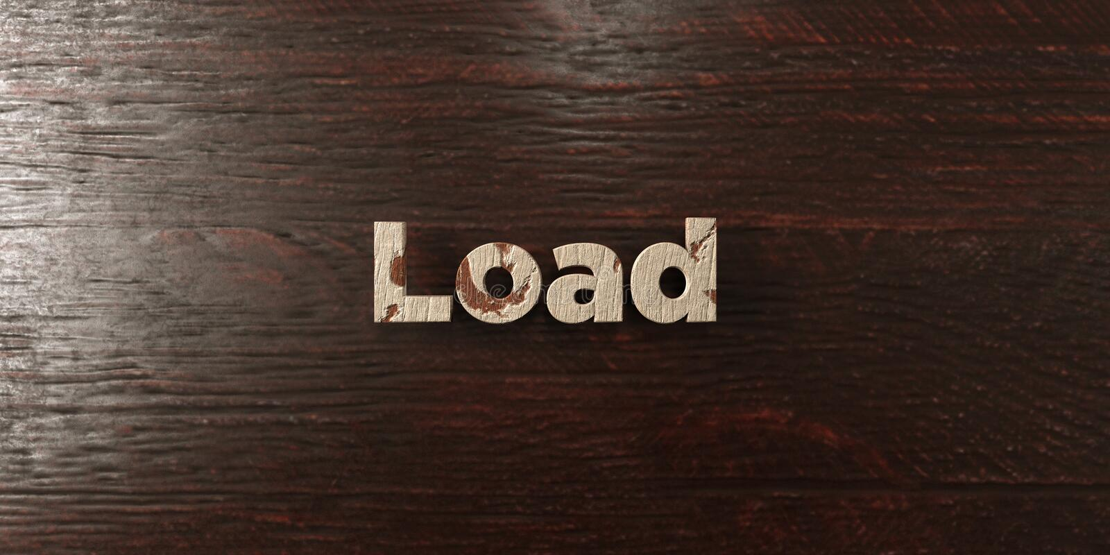 Load - grungy wooden headline on Maple - 3D rendered royalty free stock image. This image can be used for an online website banner ad or a print postcard stock illustration