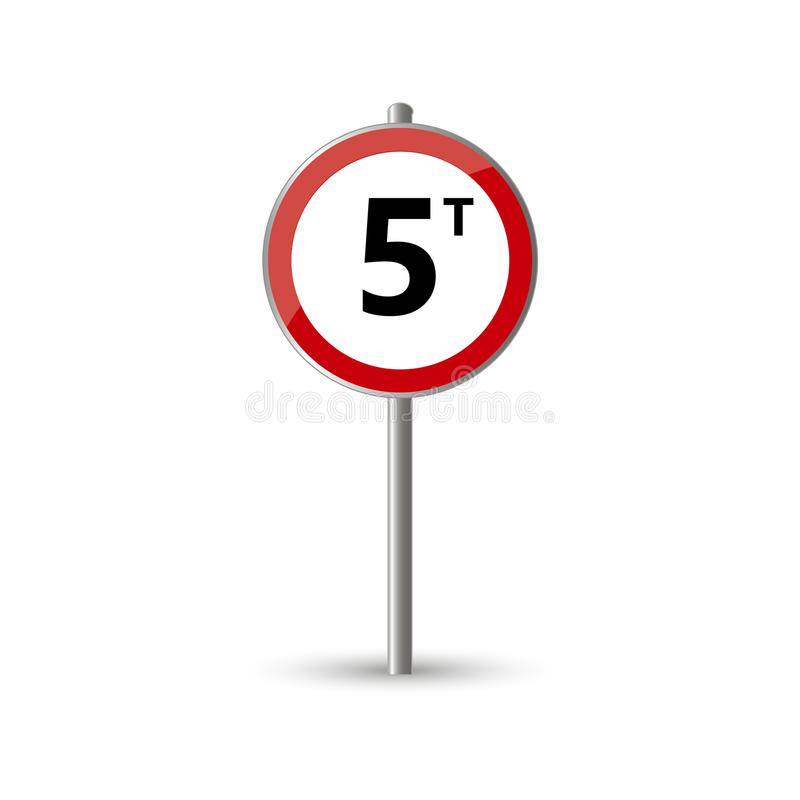 Load limit 5T traffic sign stock illustration