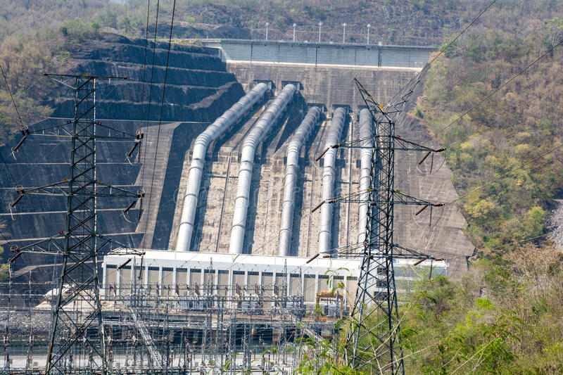 Load power plant of large dams on the river. stock images