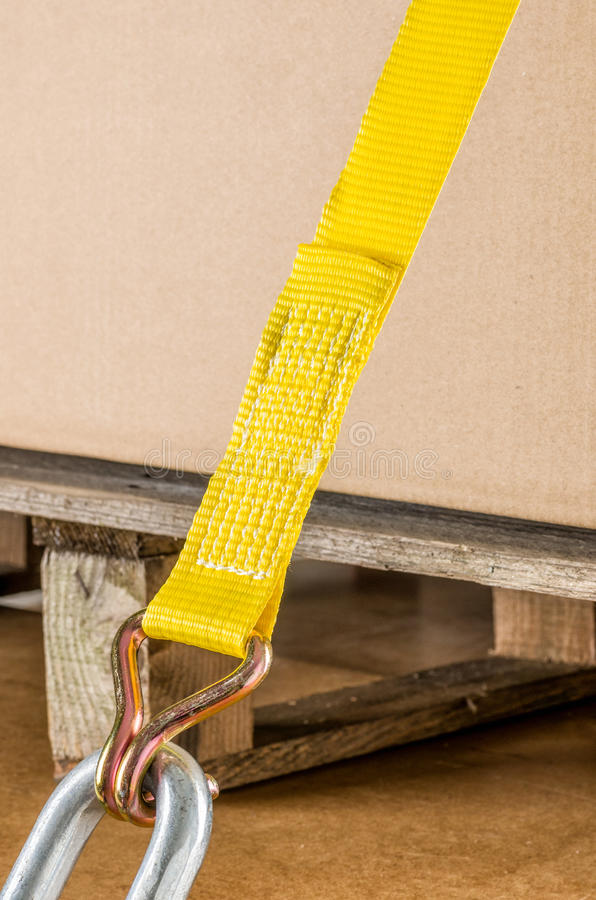 Load securing with lashing strap. Load securing with a lashing strap royalty free stock photos