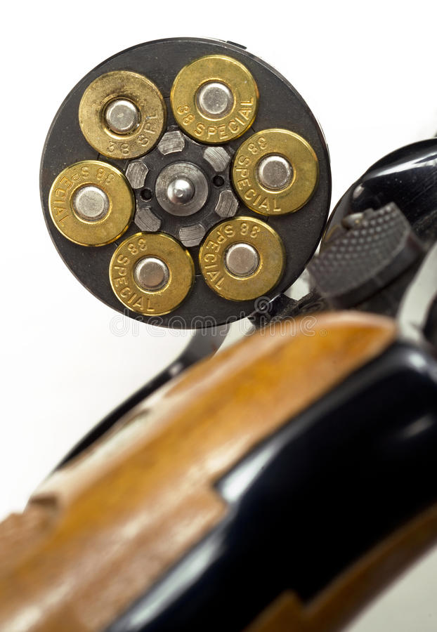 Free Loaded Bullets In Gun Chamber 38 Special Ready Aim Fire Royalty Free Stock Images - 30473259