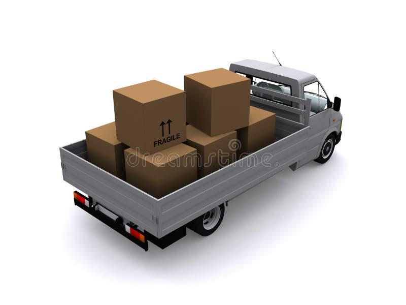 Loaded flatbed truck royalty free illustration