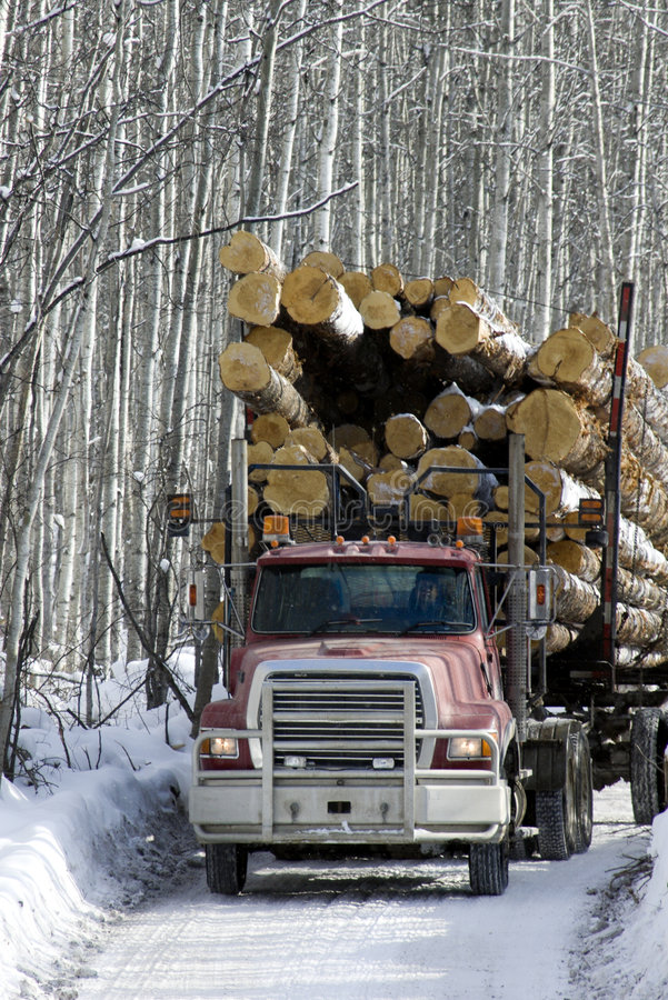 Free Loaded Logging Truck Driving On Road Stock Image - 5783841