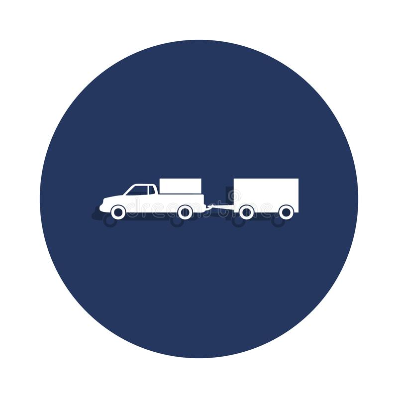 Loaded pick-up truck with a trailer icon in badge style. One of cars collection icon can be used for UI, UX. On white background stock illustration