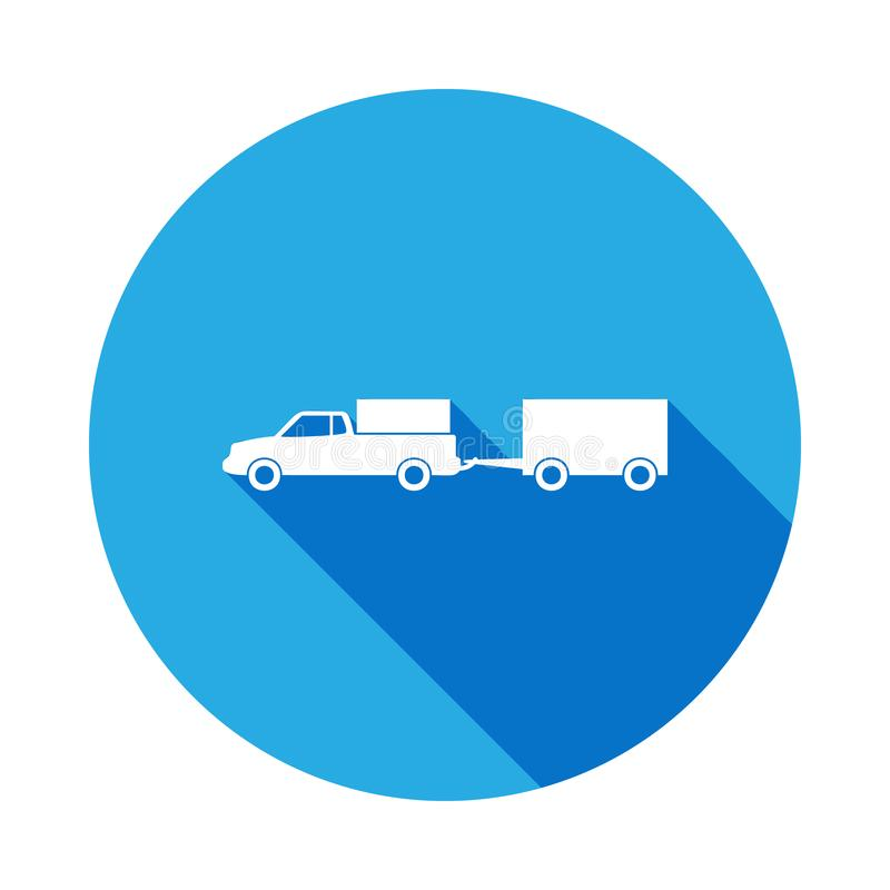 Loaded pick up truck with a trailer icon with long shadow. Premium quality graphic design icon with long shadow. Signs and symbols. Can be used for web, logo royalty free illustration