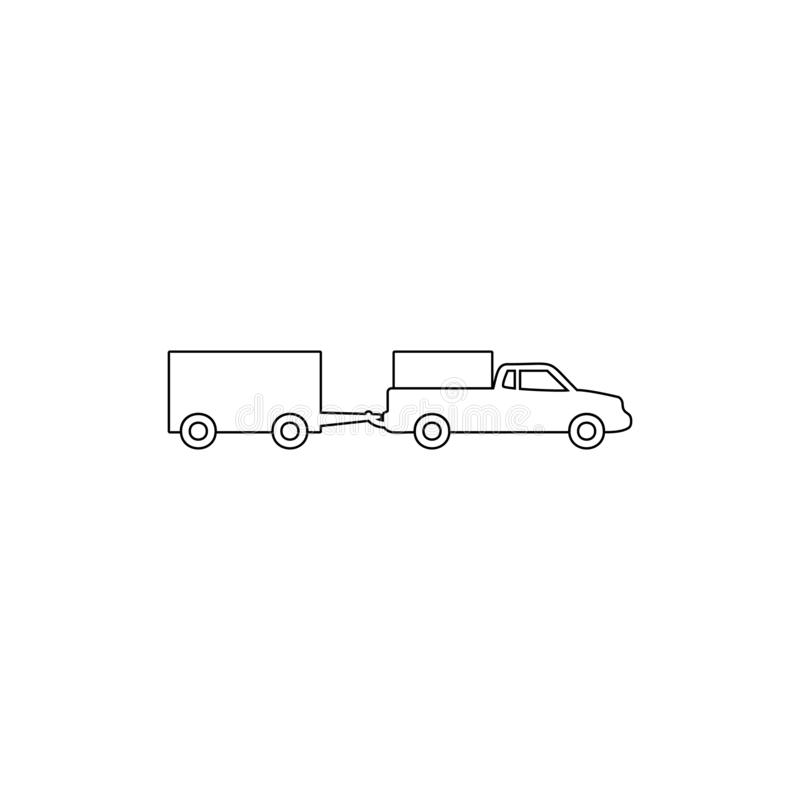 Loaded pick-up truck with a trailer outline icon. Element of car type icon. Signs and symbols collection icon for websites, web. Design, mobile app on white vector illustration