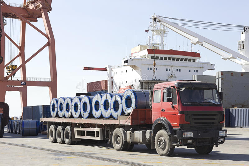 A loaded truck in harbor stock photography