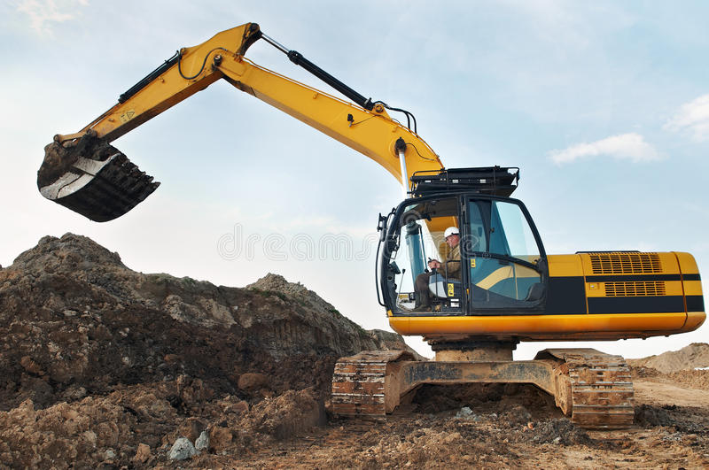 Loader excavator in a quarry royalty free stock photography
