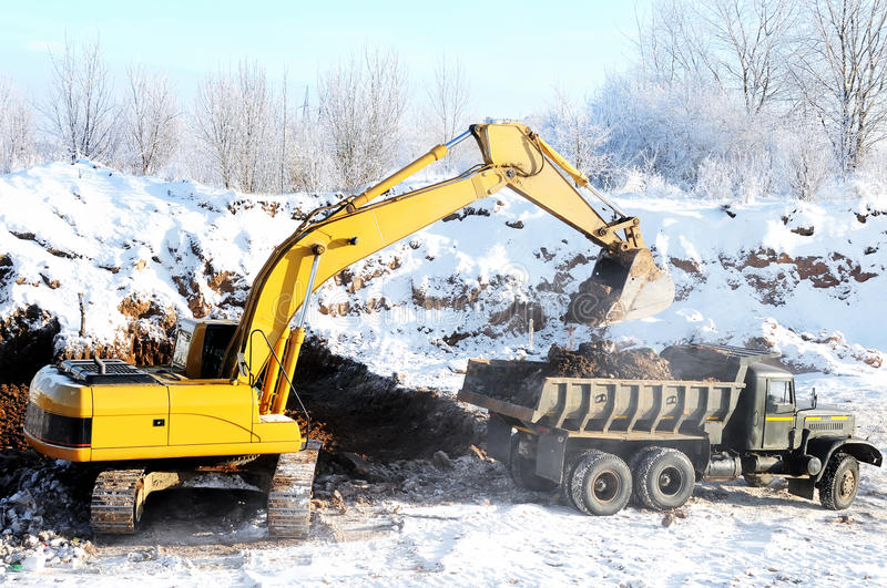 Loader excavator and rear-end royalty free stock photography