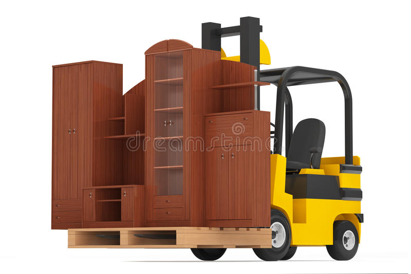 Loader Lift Living Room Wall Unit. 3d rendering. Loader Lift Living Room Wall Unit on a white background. 3d rendering royalty free stock photos