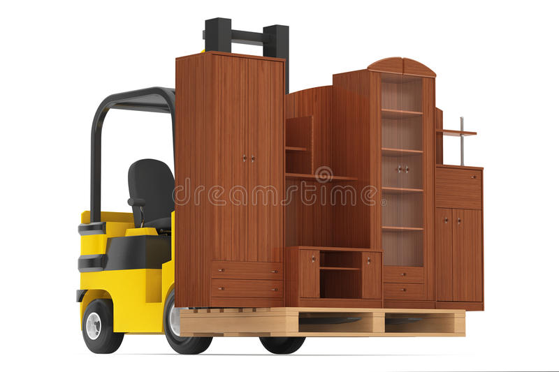 Loader Lift Living Room Wall Unit. 3d rendering. Loader Lift Living Room Wall Unit on a white background. 3d rendering royalty free stock photo
