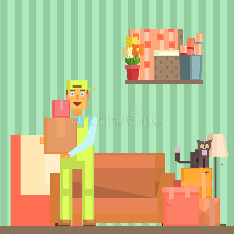 Loader Taking Out Packed Boxes From The Room Pixelated Illustration. Minimalistic 8-bit Style Bright Color Illustration OF Resettlement Process stock illustration