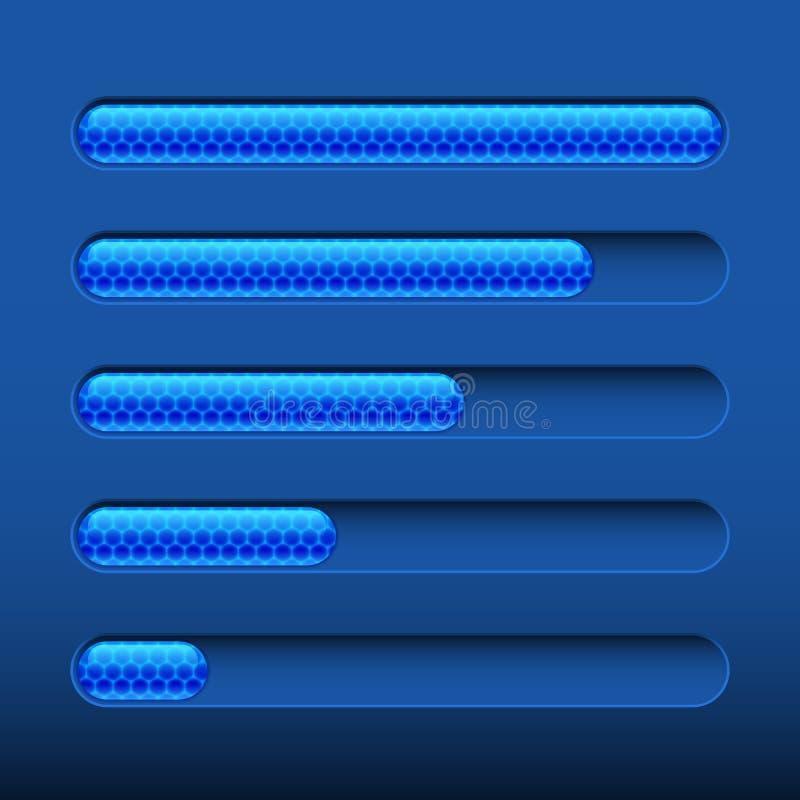 Loading bar on dark blue background stock illustration