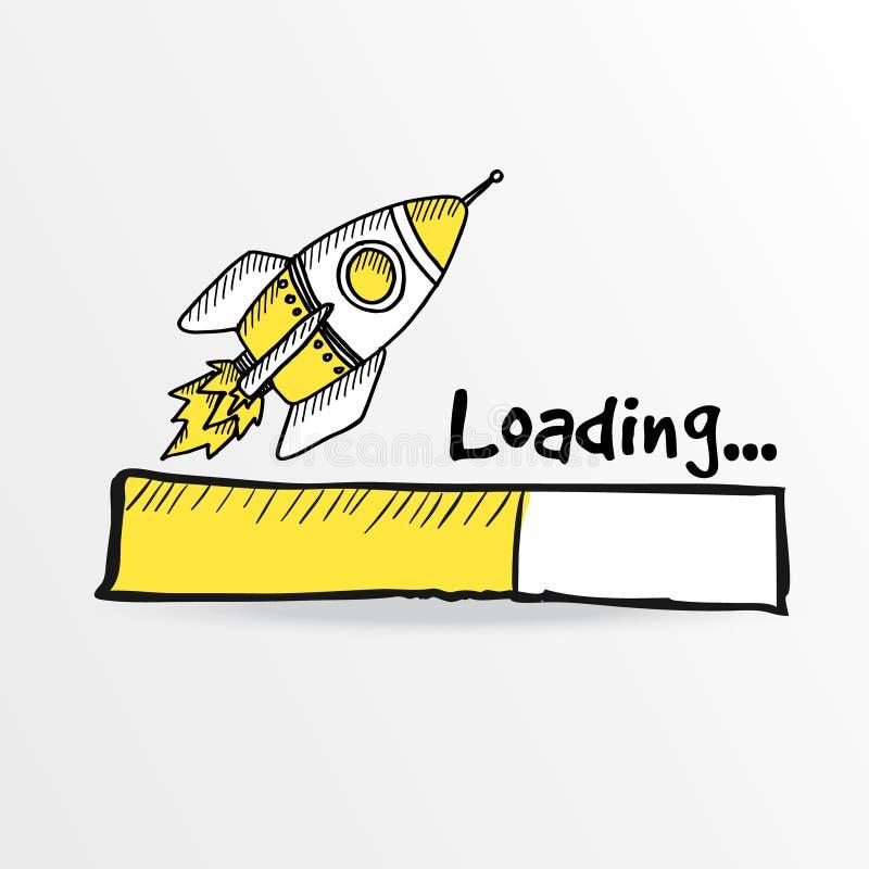 Loading bar with a doodle rocket, stock illustration