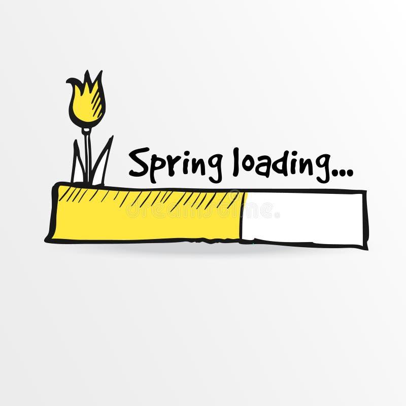 Loading bar with a doodle tulip flower, spring concept,. Illustration sketch stock illustration