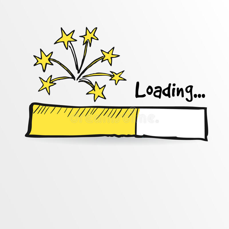Loading bar with fireworks, new year, anniversary or party concept,. Illustration sketch royalty free illustration