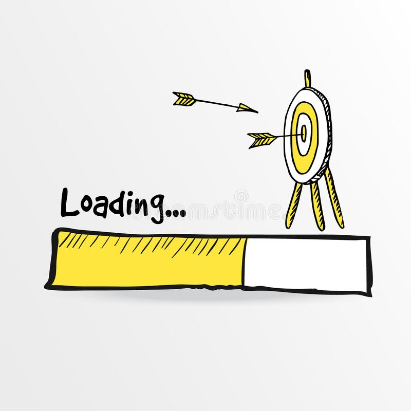 Loading bar. Hand drawn flying arrows hitt in doodle archery target, goal symbol. Success concept. Vector illustration. vector illustration
