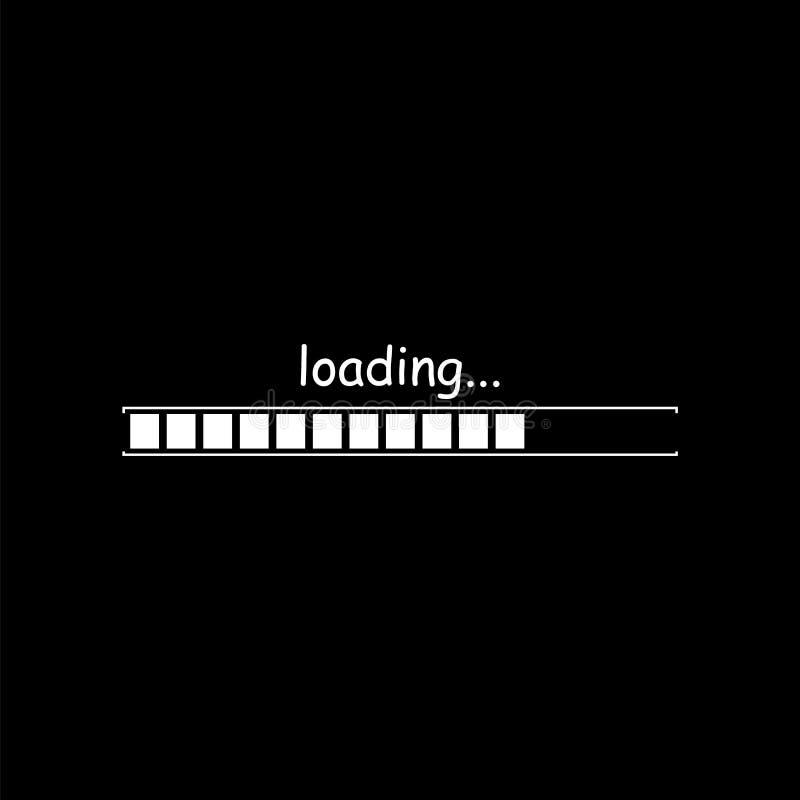 Loading bar icon isolated on black background. Vector illustration. stock illustration