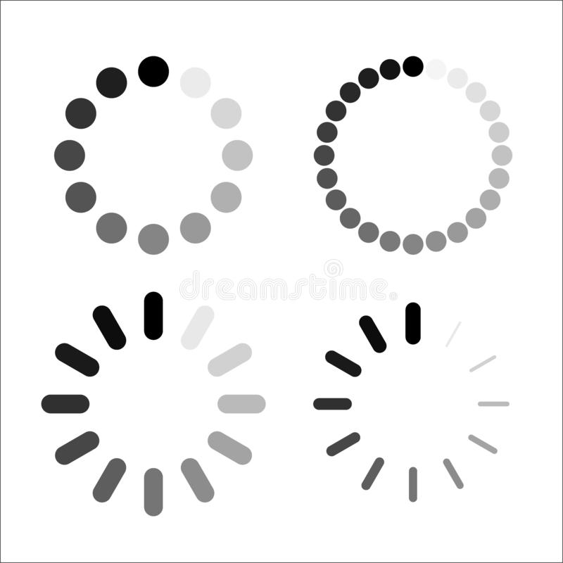 Loading Bar icon set, vector symbol in outline flat style isolated on white background. royalty free illustration