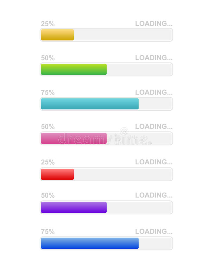 Loading bar icons. Percentage downloading, uploading, Vector royalty free illustration