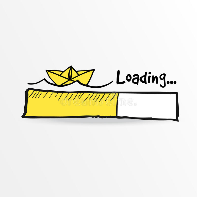 Loading bar with paper boat and sea waves. Summer holiday concept, isolated vector sketch illustration. Loading bar with paper boat and sea waves. Summer vector illustration