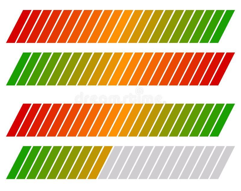 Loading bar, progress-level indicator with color code. Royalty free vector illustration vector illustration
