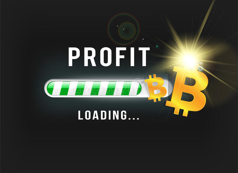 Loading Bitcoin profit vector illustration