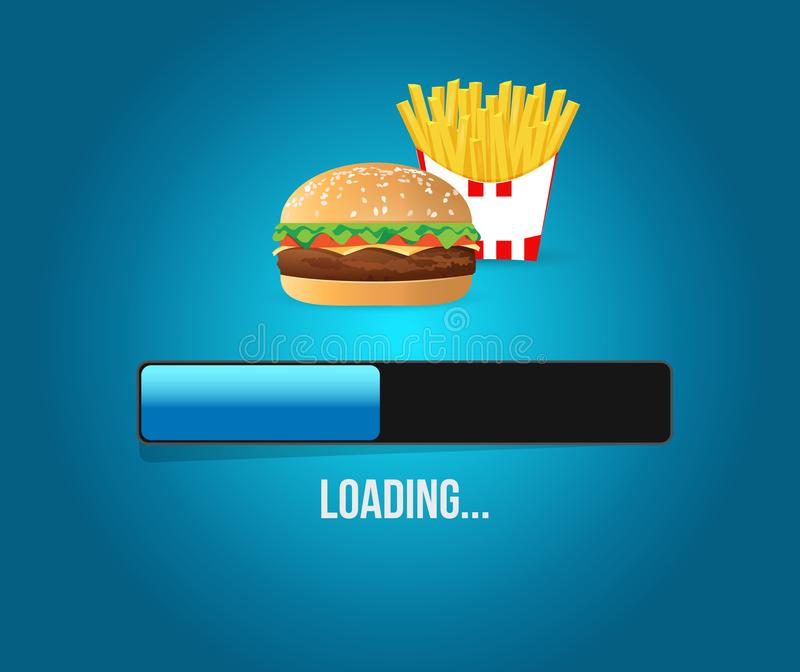 Loading burger and fires concept illustration. Design isolated over white stock illustration
