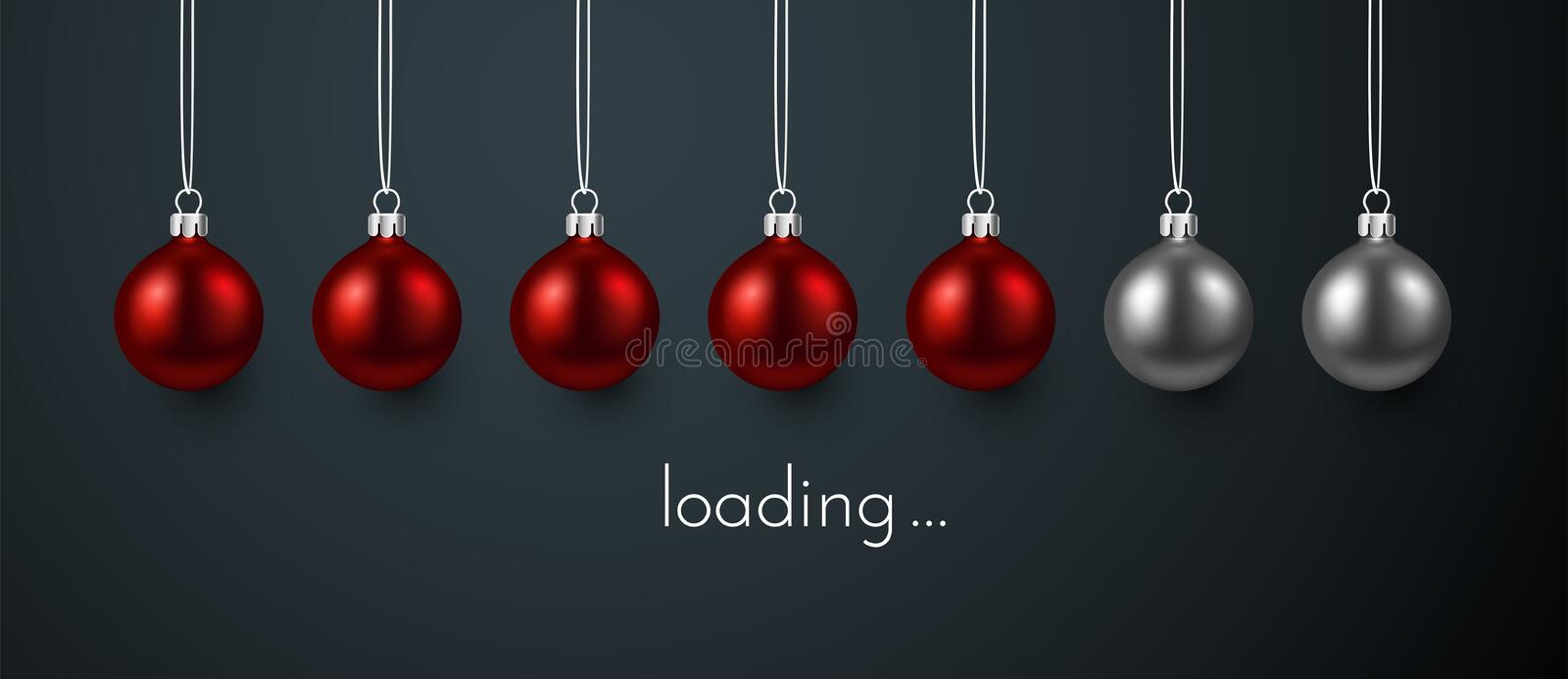 Loading Christmas or New Year poster with red Christmas balls. Loading Christmas or New Year festive poster with progress indicator made of red Christmas balls stock illustration