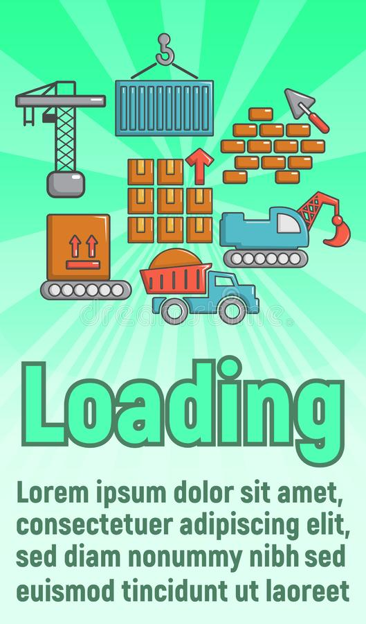 Loading concept banner, cartoon style. Loading concept banner. Cartoon banner of loading vector concept for web, giftcard and postcard royalty free illustration