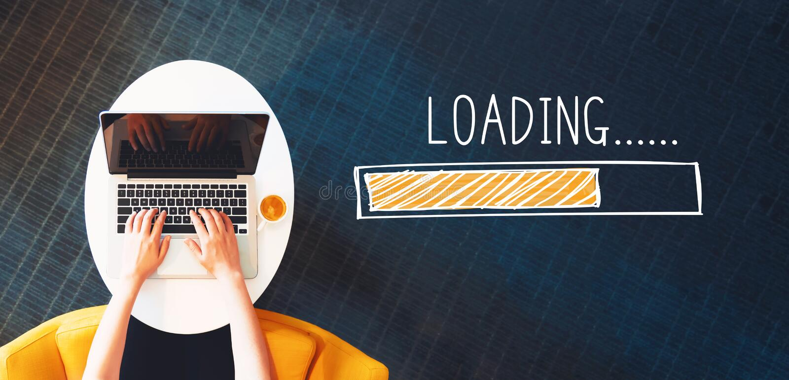 Loading concept with person using a laptop stock photos