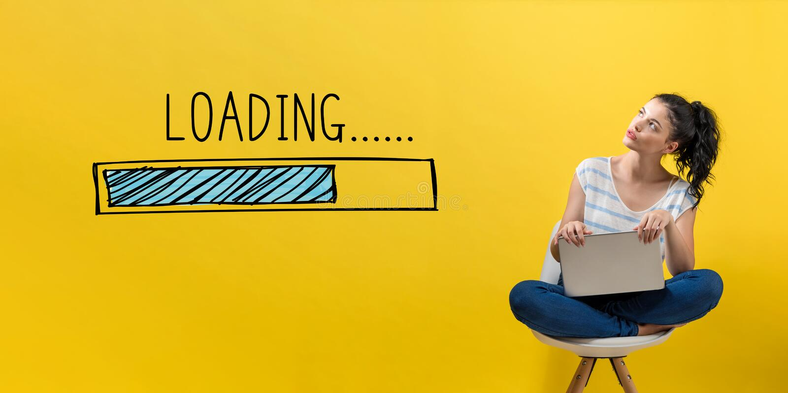 Loading concept with woman using a laptop stock images
