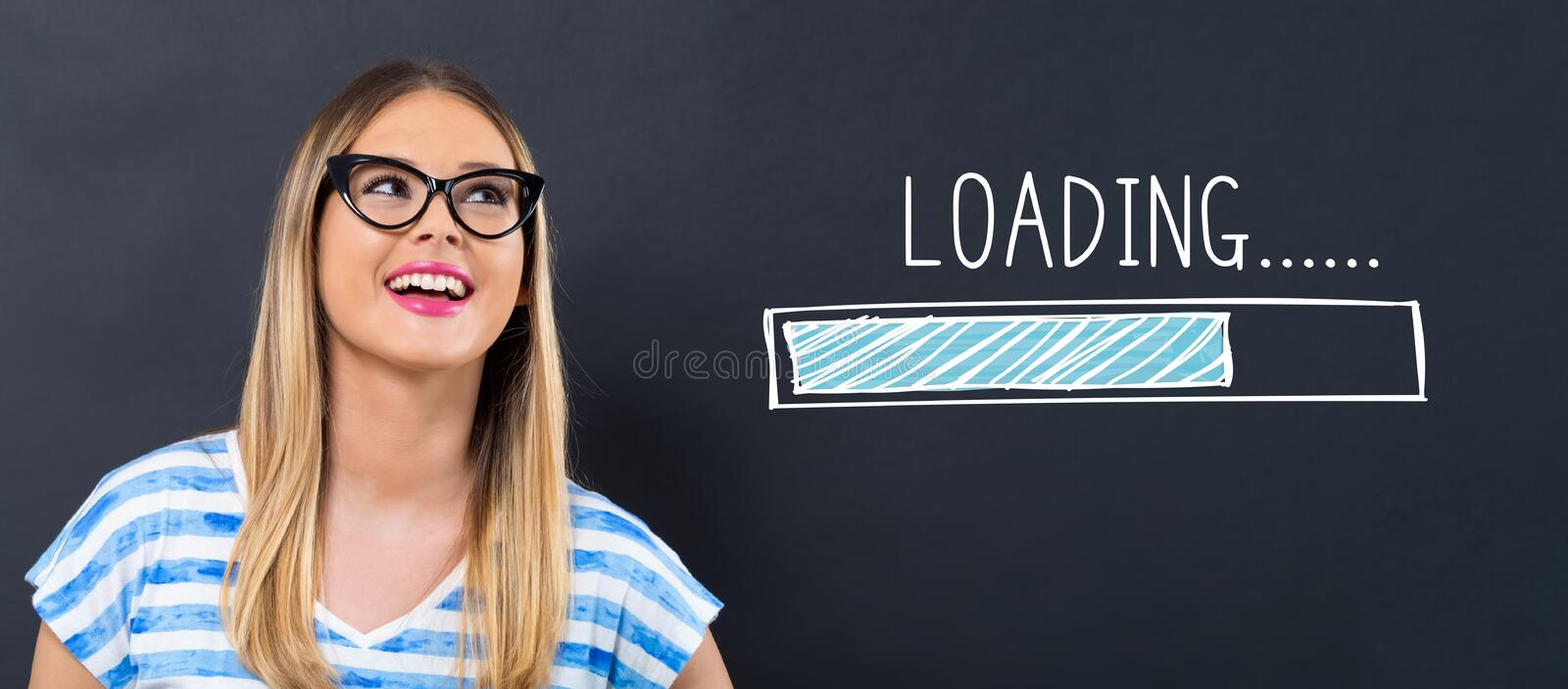 Loading concpet with happy young woman stock photography