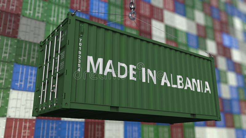 Loading container with MADE IN ALBANIA caption. Albanian import or export related 3D rendering. Loading container with MADE IN ALBANIA caption. Albanian import stock illustration
